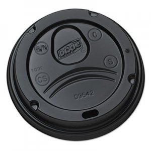 Dixie Drink-Thru Lids for 10-20 oz Cups, Plastic, Black DXED9542B D9542B
