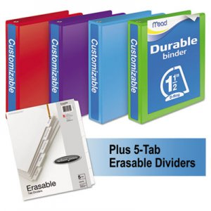"Mead Durable D-Ring View Binder Plus Pack, 1 1/2"" Cap, Assorted Colors, 4/Carton MEA66534AU W665-34AUPP"