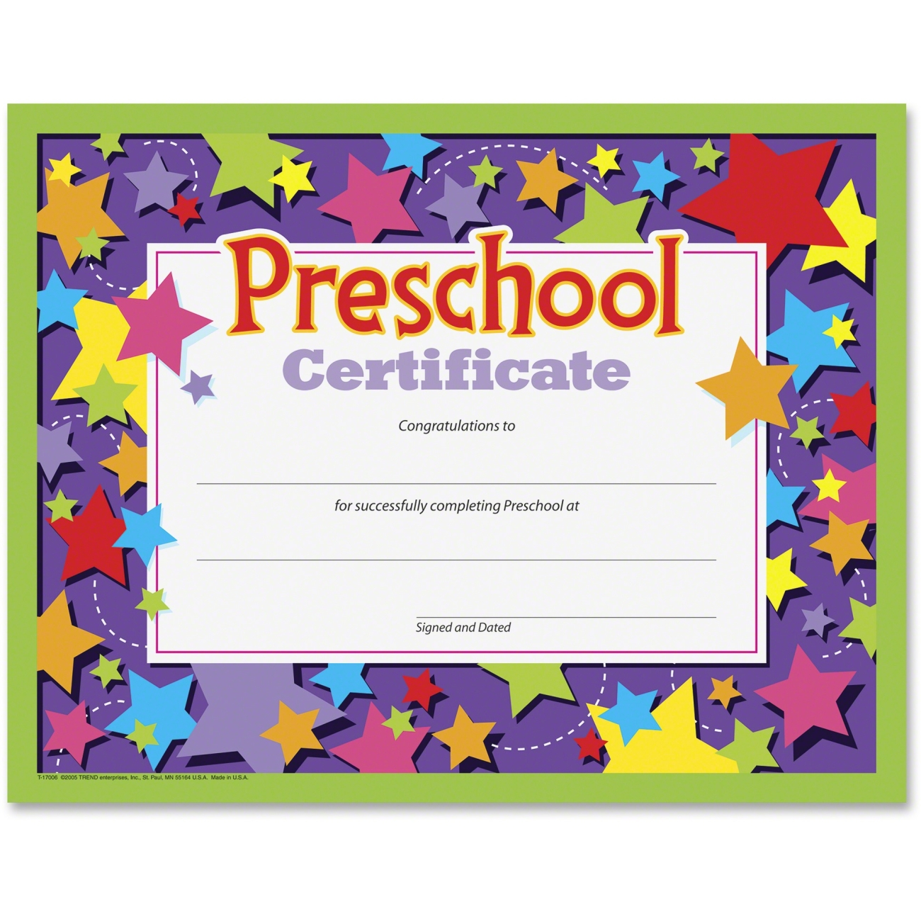 Kindergarten Awards Certificates: Preschool Certificate Trend Enterprises, Inc T-17006