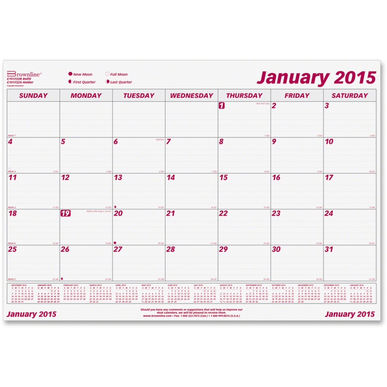 Monthly Calendar Refills : Printer