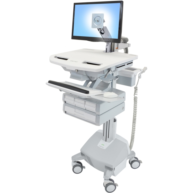 Ergotron StyleView Cart with LCD Arm, LiFe Powered, 4 Drawers SV44-1242-1
