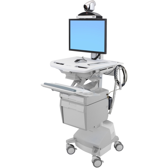 Ergotron StyleView Telemedicine Cart, Single Monitor, Powered SV44-53T1-1
