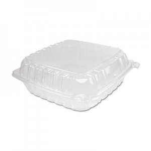 Dart ClearSeal Plastic Hinged Container, Large, 9x9-1/2x3, Clear, 100/Bag DCCC95PST1 DCC C95PST1