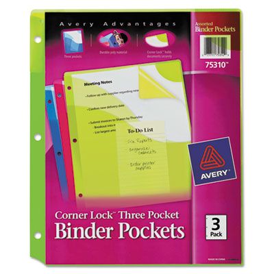 Avery Corner Lock Three-Pocket Binder Pocket, 11 1/4 x 9 1/4, Assorted Color, 3/Pack AVE75310 7771175310