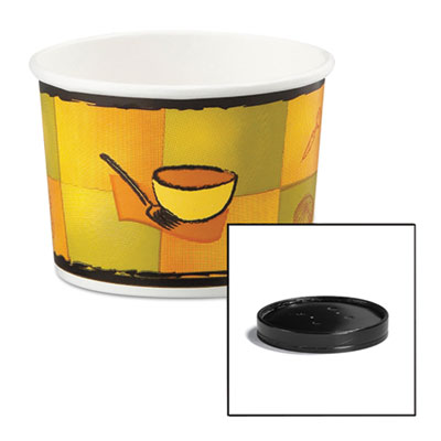 Huhtamaki Soup Food Containers w/Vented Lids, Streetside Pattern, 12 oz, 250/Carton HUH71850 HUH 71850