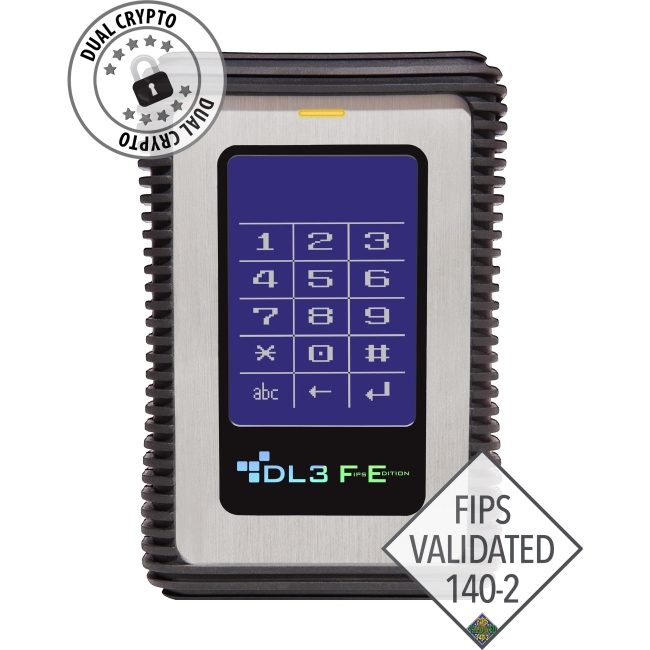 DataLocker FIPS Validated External USB 3.0 HDD with AES/CBC+XTS Mode Data Encryption 2TB FE2000