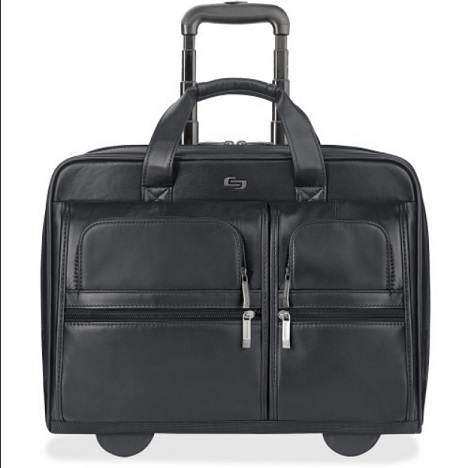 "Solo Classic 15.6"" Leather Rolling Case D957-4 USLD9574"
