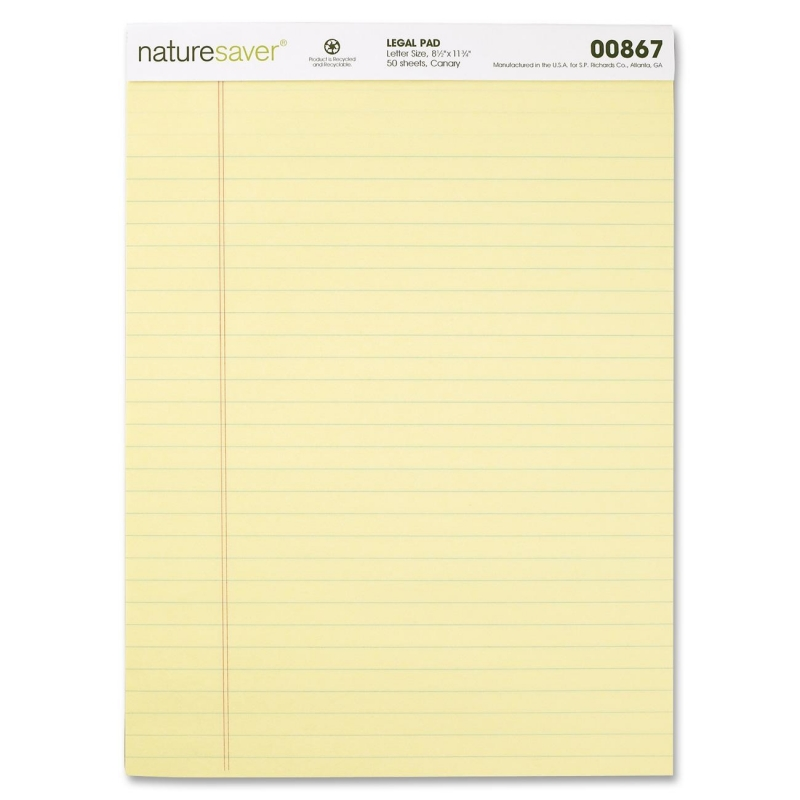 Nature Saver 100% Recycled Canary Legal Ruled Pads 00867 NAT00867
