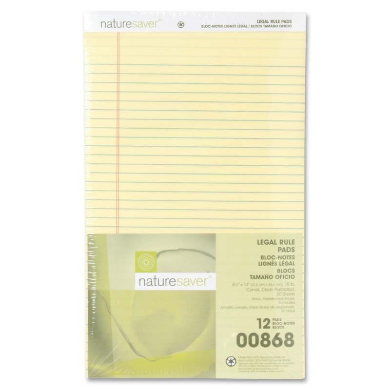 Nature Saver 100% Recycled Canary Legal Ruled Pads 00868 NAT00868