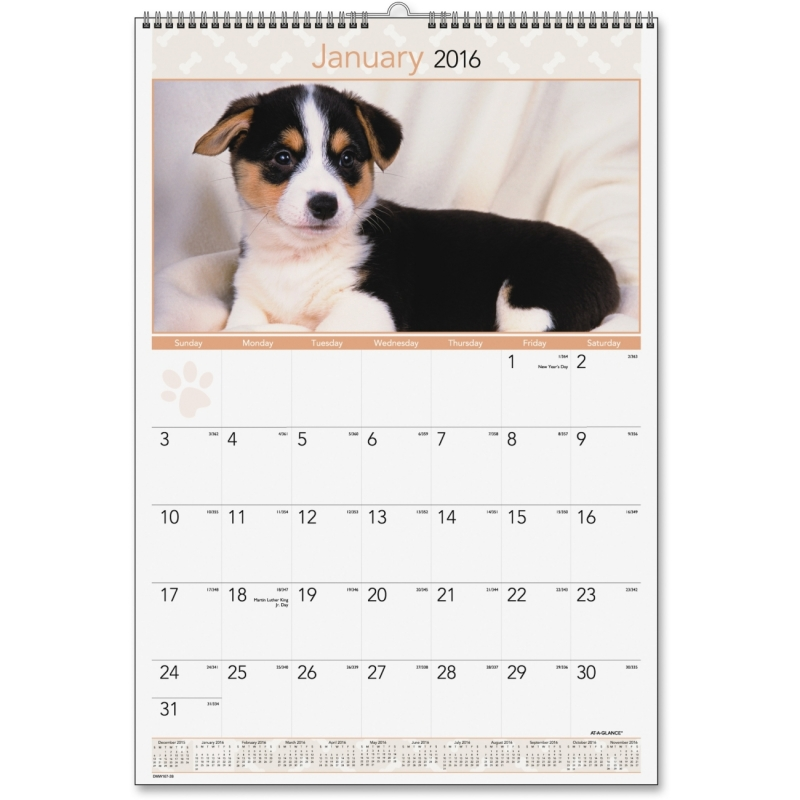 At-A-Glance At-A-Glance Large Puppies Monthly Wall Calendar DMW16728 AAGDMW16728