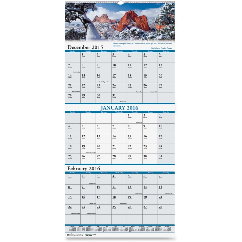 House of Doolittle Earthscapes Three Month Wall Calendar 3638 HOD3638