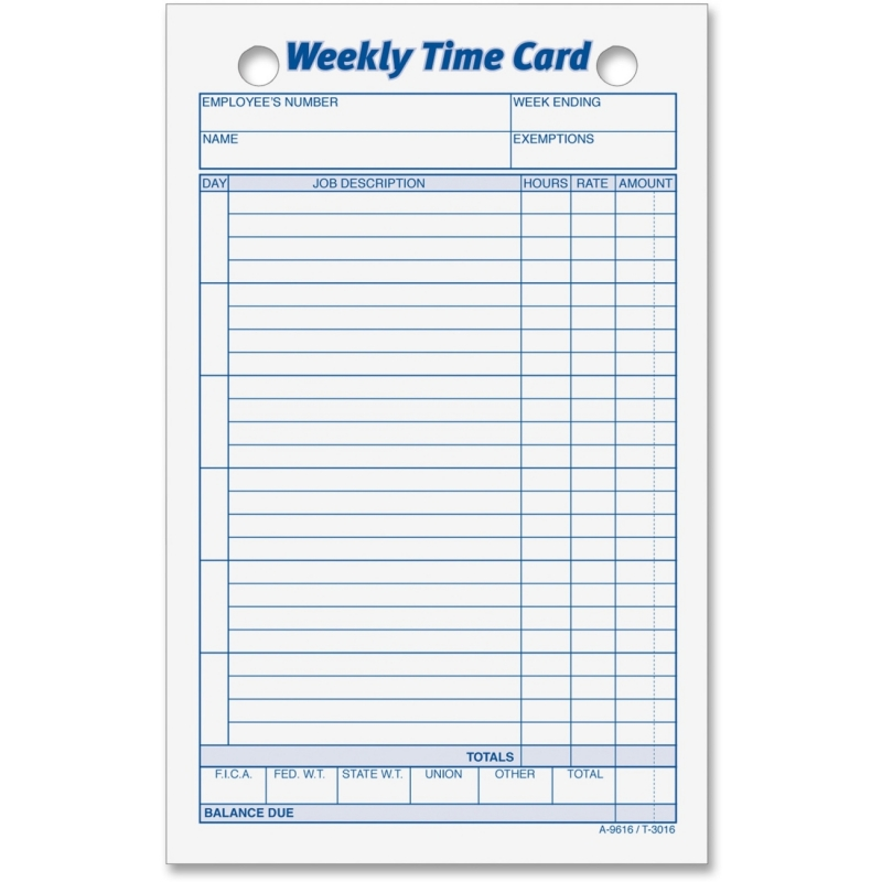 TOPS TOPS Weekly Handwritten Time Cards 3016 TOP3016