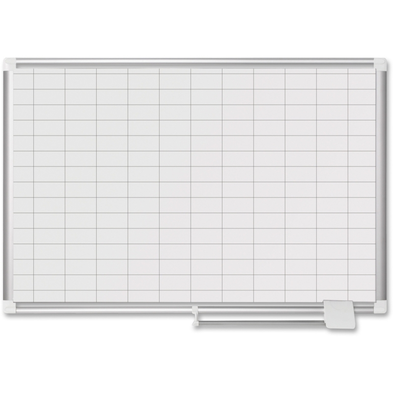 "MasterVision 1"" x 2"" Grid Magnetic Porcelain Pure White CR0630830 BVCCR0630830"