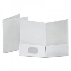 Oxford Linen Finish Twin Pocket Folders, Letter, White, 25/Box OXF53404 53404EE