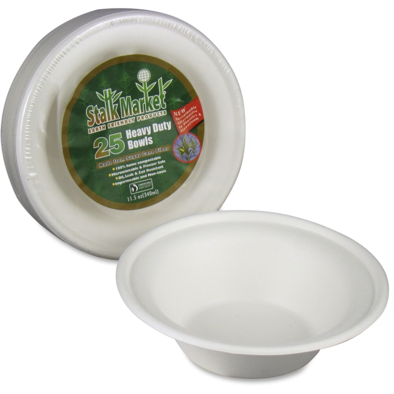 StalkMarket Sugarcane Fiber Disposable Bowls L003R STML003R