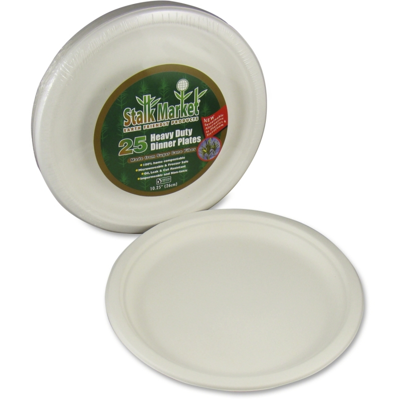 StalkMarket Sugarcane Fiber Disposable Plates P005R STMP005R