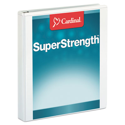 "Cardinal SuperStrength ClearVue Locking Slant-D Ring Binder, 1"" Cap, 11 x 8 1/2, White CRD10200 10200"