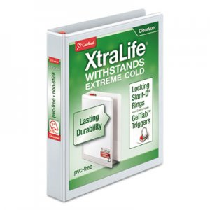 "Cardinal XtraLife ClearVue Non-Stick Locking Slant-D Binder, 1"" Cap, 11 x 8 1/2, White CRD26300 26300CB"