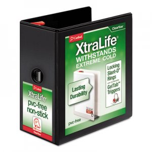 "Cardinal XtraLife ClearVue Non-Stick Locking Slant-D Binder, 5"" Cap, 11 x 8 1/2, Black CRD26351 26351CB"