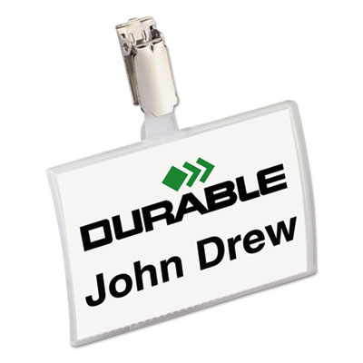 Durable Click-Fold Convex Name Badge Holder, Strap Clip, 3 3/4w x 2 1/4h, Clear, 25/Pk DBL821619