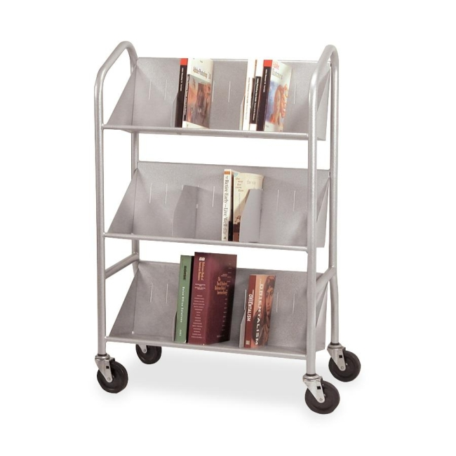Buddy Sloped Shelf Book Cart with Dividers 5414-3 BDY54143 54143