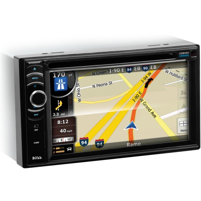 "Boss Audio Double-DIN DVD Player 6.2"" Touchscreen Monitor With Navigation Bluetooth BV9386NV"