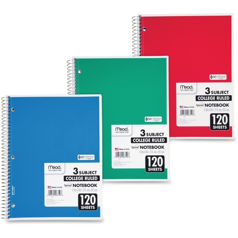 Mead Mead 3-Subject Wirebound College Ruled Notebook 06710 MEA06710
