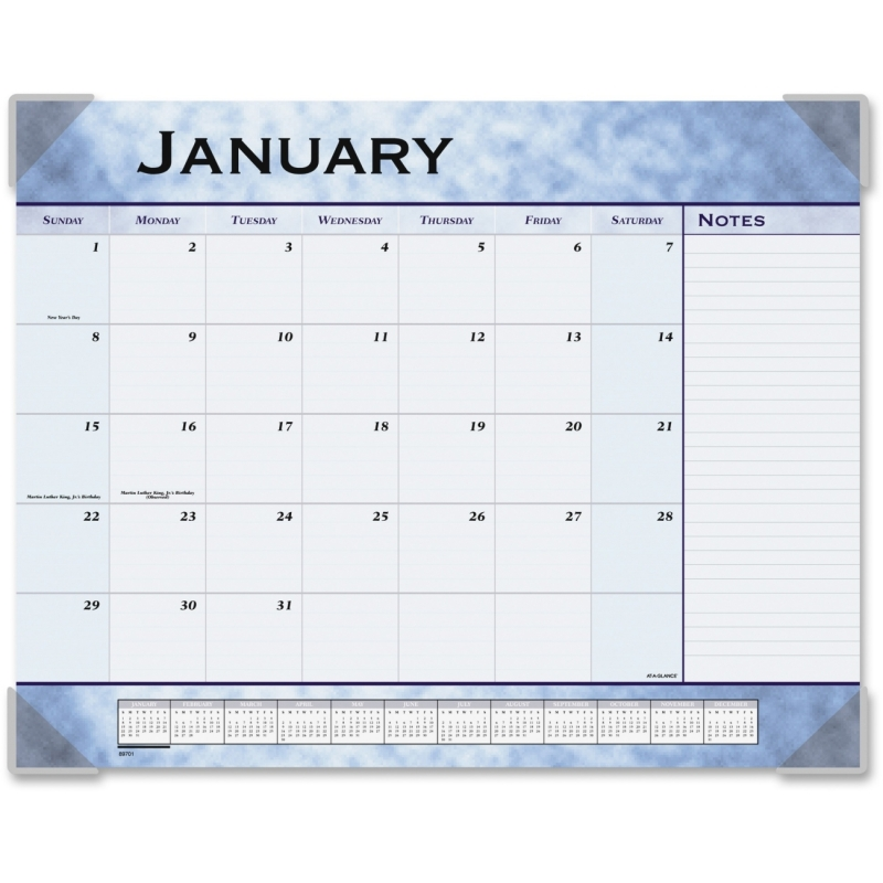 At-A-Glance At-A-Glance Marble Look Slate Blue Desk Pad Calendar 89701 AAG89701