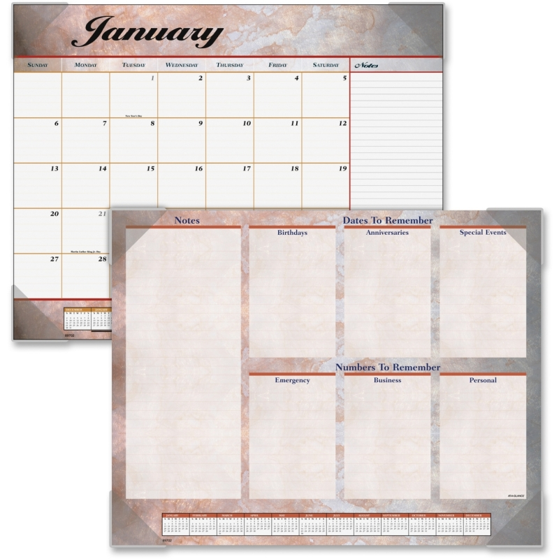At-A-Glance At-A-Glance Marble Look Desk Pad Calendar 89702 AAG89702