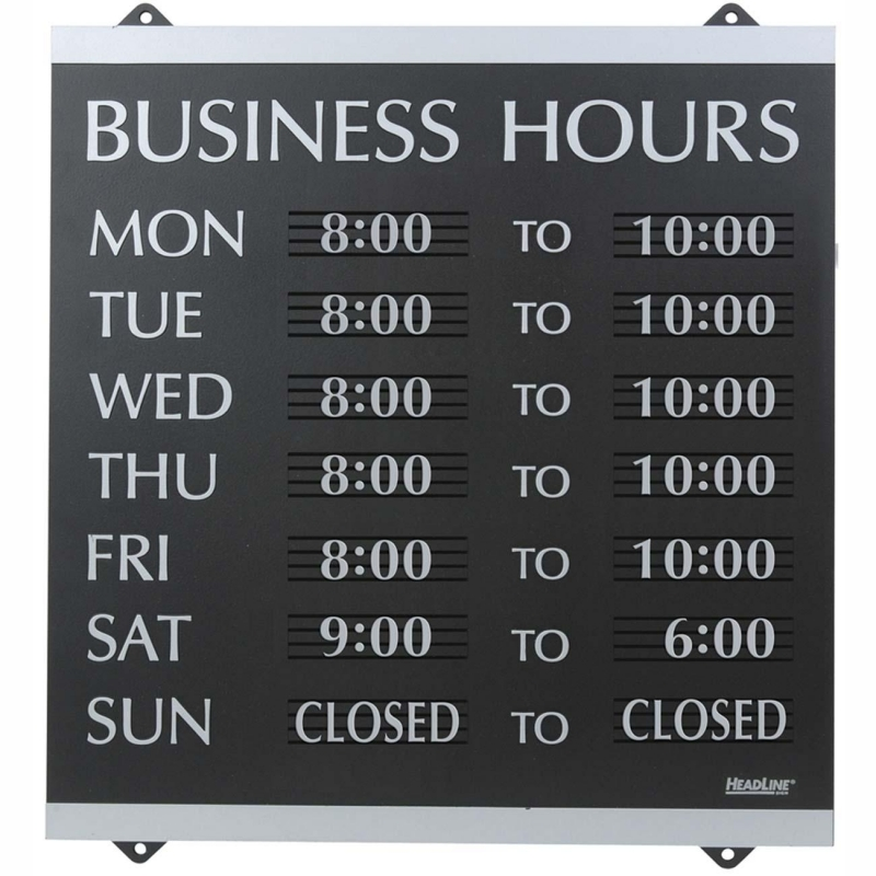 U.S. Stamp & Sign Century Business Hours Sign 4247 USS4247