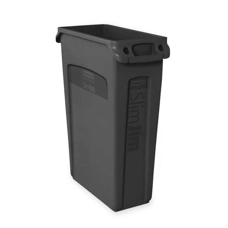 Rubbermaid Rubbermaid 354060 Slim Jim Waste Container with Venting channel 354060BK RCP354060BK 354060