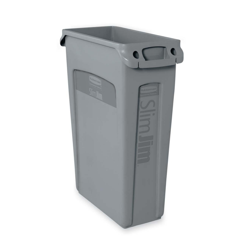 Rubbermaid Rubbermaid 354060 Slim Jim Waste Container with Venting channel 354060GY RCP354060GY 354060