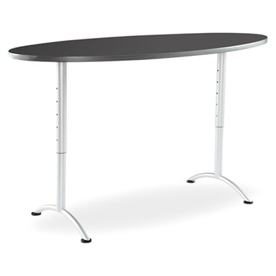 Iceberg ARC Sit-to-Stand Tables, Oval Top, 36w x 72d x 30-42h, Graphite/Silver ICE69627 69627