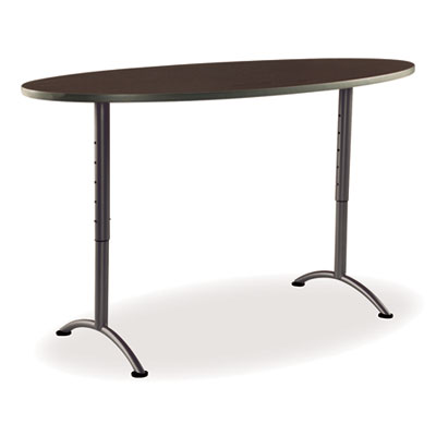 Iceberg ARC Sit-to-Stand Tables, Oval Top, 36w x 72d x 30-42h, Walnut/Gray ICE69624 69624