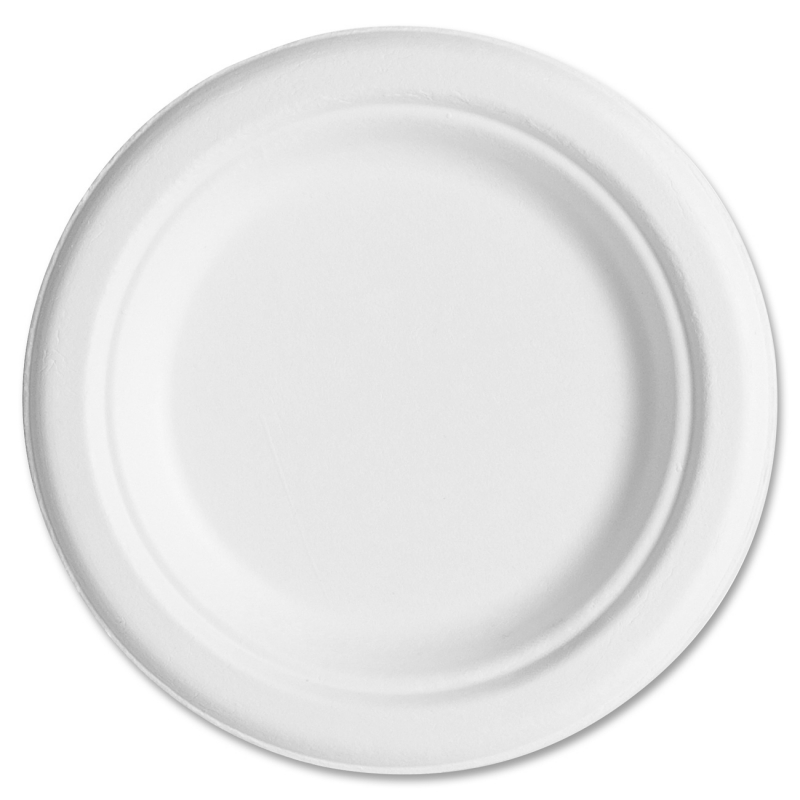 "Eco-Products Sugarcane Plates, 6"", 20PK/CT, White EPP016CT ECOEPP016CT"