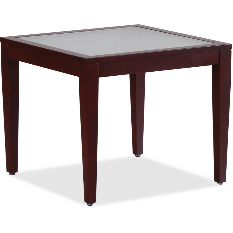 Lorell Glass Top Mahogany Frame Table 59541 LLR59541