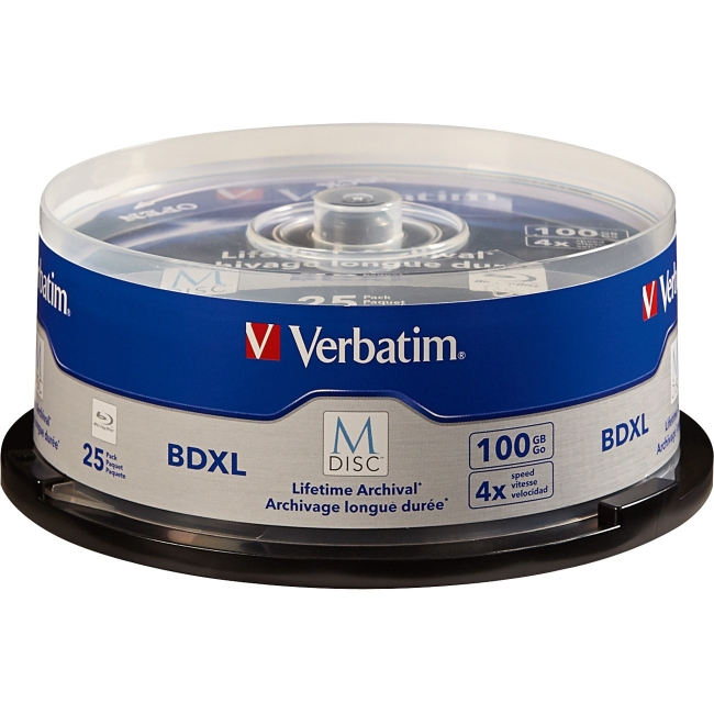 Verbatim M-Disc BDXL 100GB 4X with Branded Surface - 25pk Spindle 98914