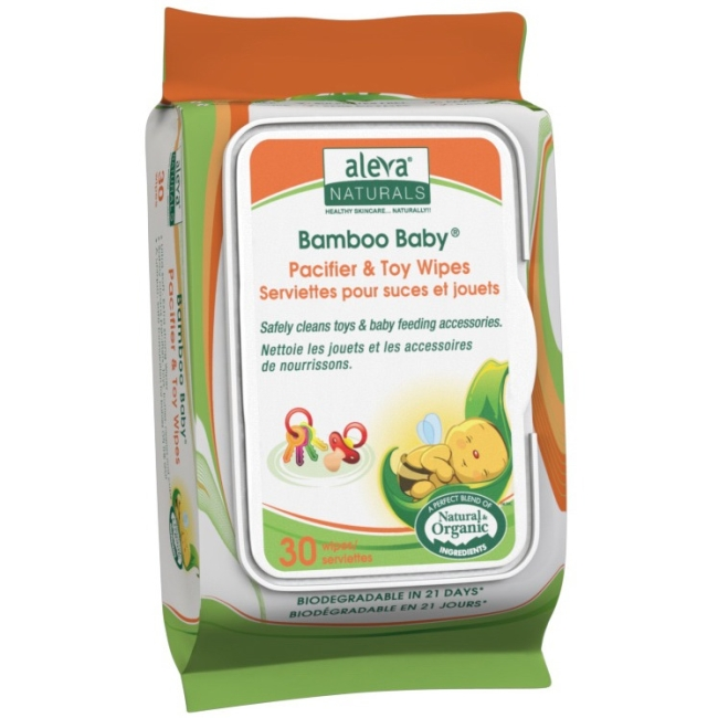 Aleva Naturals Bamboo Baby Pacifier & Toy Wipes, 360 Count (12 Packs of 30) 37948