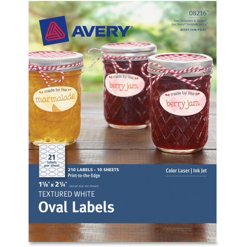 avery textured white oval labels 08216 1 1 8 x 2 1 4 pack of 210