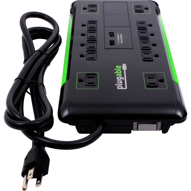 Plugable 12 AC Outlet Surge Protector with Built-In 10.5W 2-Port USB Charger PS12-USB2B PS12-USB2