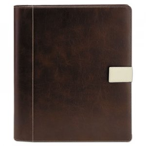 Genpak Textured Notepad Holder, 8 1/2 x 11, Leather-Like, Brown UNV32658