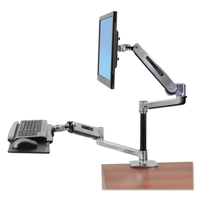 Ergotron WorkFit-LX Sit-Stand Workstation Mount System, Polished Aluminum ERG45405026 45405026