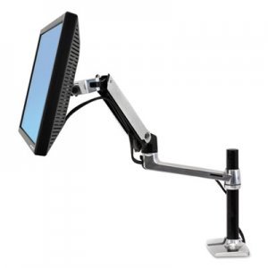 Ergotron LX Series LCD Arm, Desk Mount with Tall Pole, Polished Aluminum/Black ERG45295026 45295026