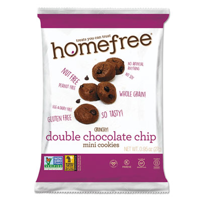 Homefree Gluten Free Double Chocolate Chip Mini Cookies, 0.95 oz Pack, 30/Carton HMF01948 LGFMDC30