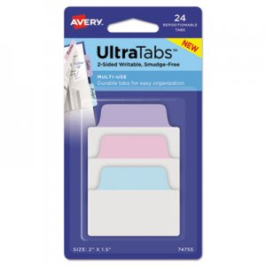 Avery Ultra Tabs Repositionable Tabs, 2 x 1 1/2, Pastel: Blue, Pink, Purple, 24/Pack AVE74755 74755