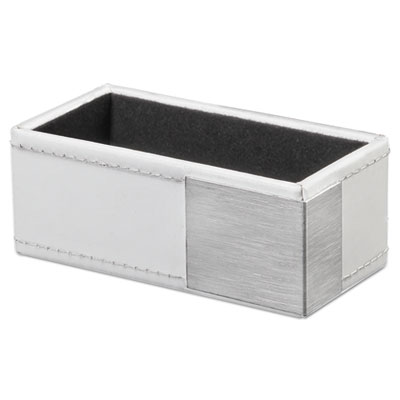 Artistic Architect Line Business Card Holder, Holds 50 2 x 3 1/2, White/Silver AOPART43001WH AOPART43001WH ART43001WH