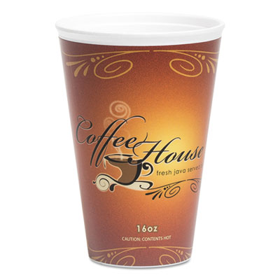 WinCup Marquee Coffee House Paper Wrapped Cups, Foam, 16 oz, Maroon, 500/Carton WCP216081 216081