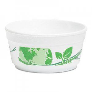 WinCup Vio Biodegradable Food Containers, 8 oz Bowl, Foam, White/Green, 500/Carton WCPF8VIO F8VIO