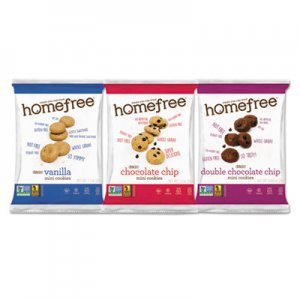 Homefree Gluten Free Mini Cookies Variety Pack, 1.1 oz/0.95 oz/1.1 oz Packs, 30/Carton HMF01305