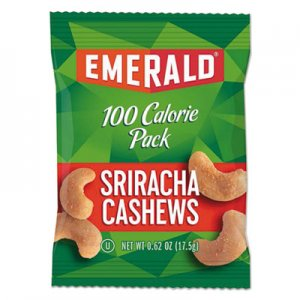 Emerald 100 Calorie Pack Nuts, Sriracha Cashews, 0.62 oz Pack, 7/Box DFD33825 33825